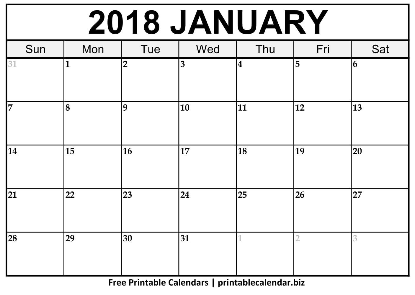January 2019 Calendar - Printablecalendar.biz