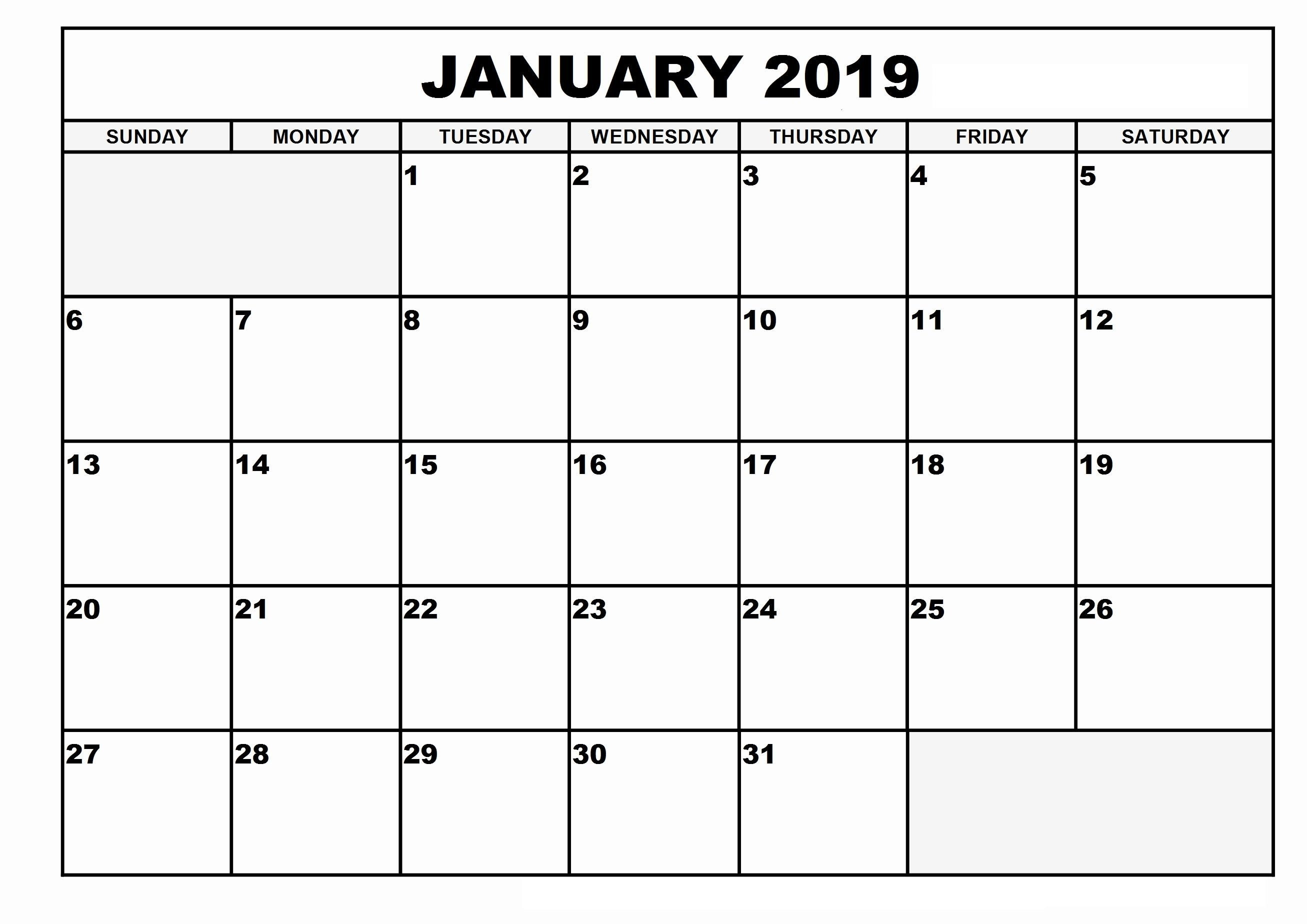 January 2019 Calendar Template Dates Printable #january2019