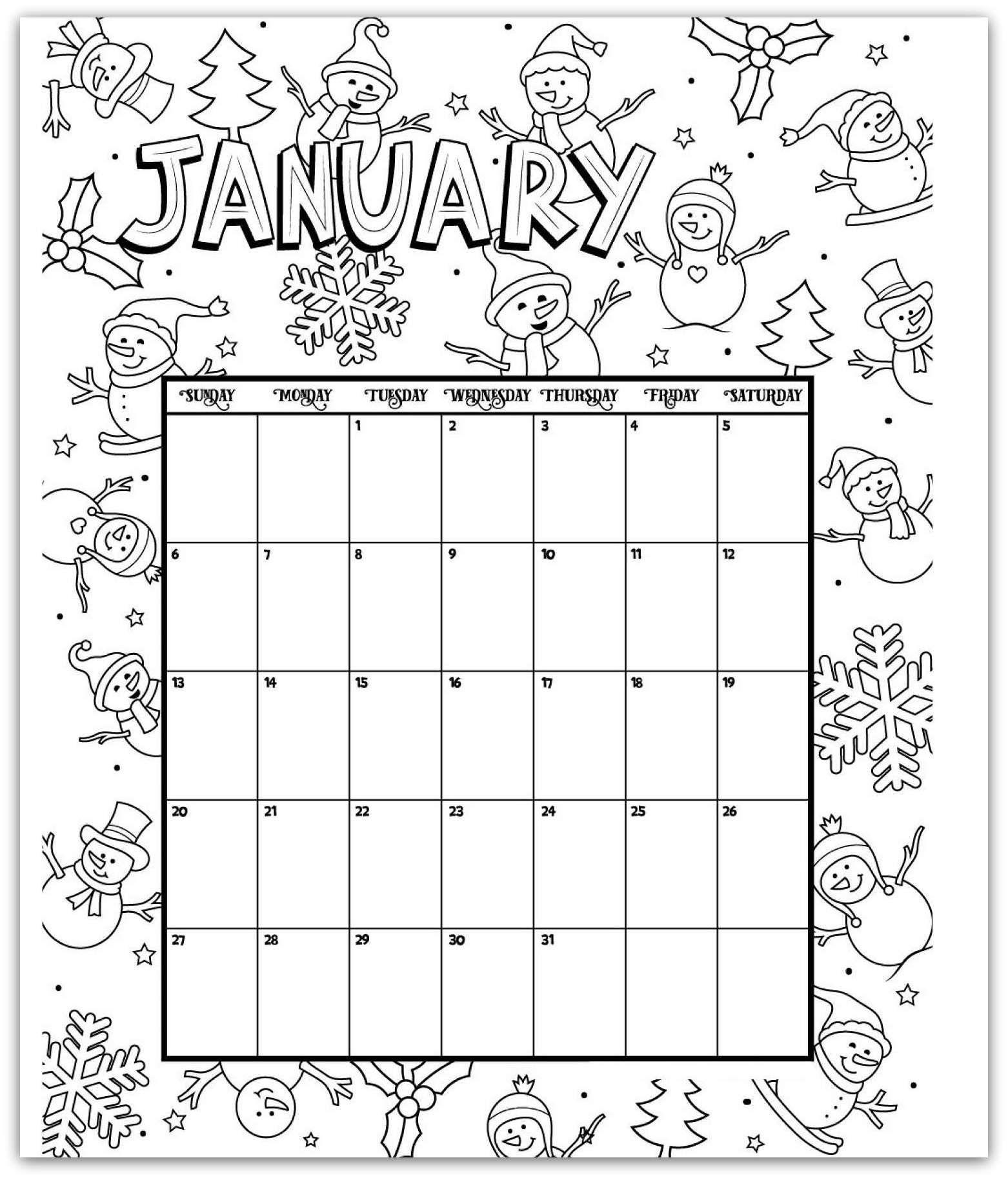 January 2019 Coloring Page Printable Calendar | Kids