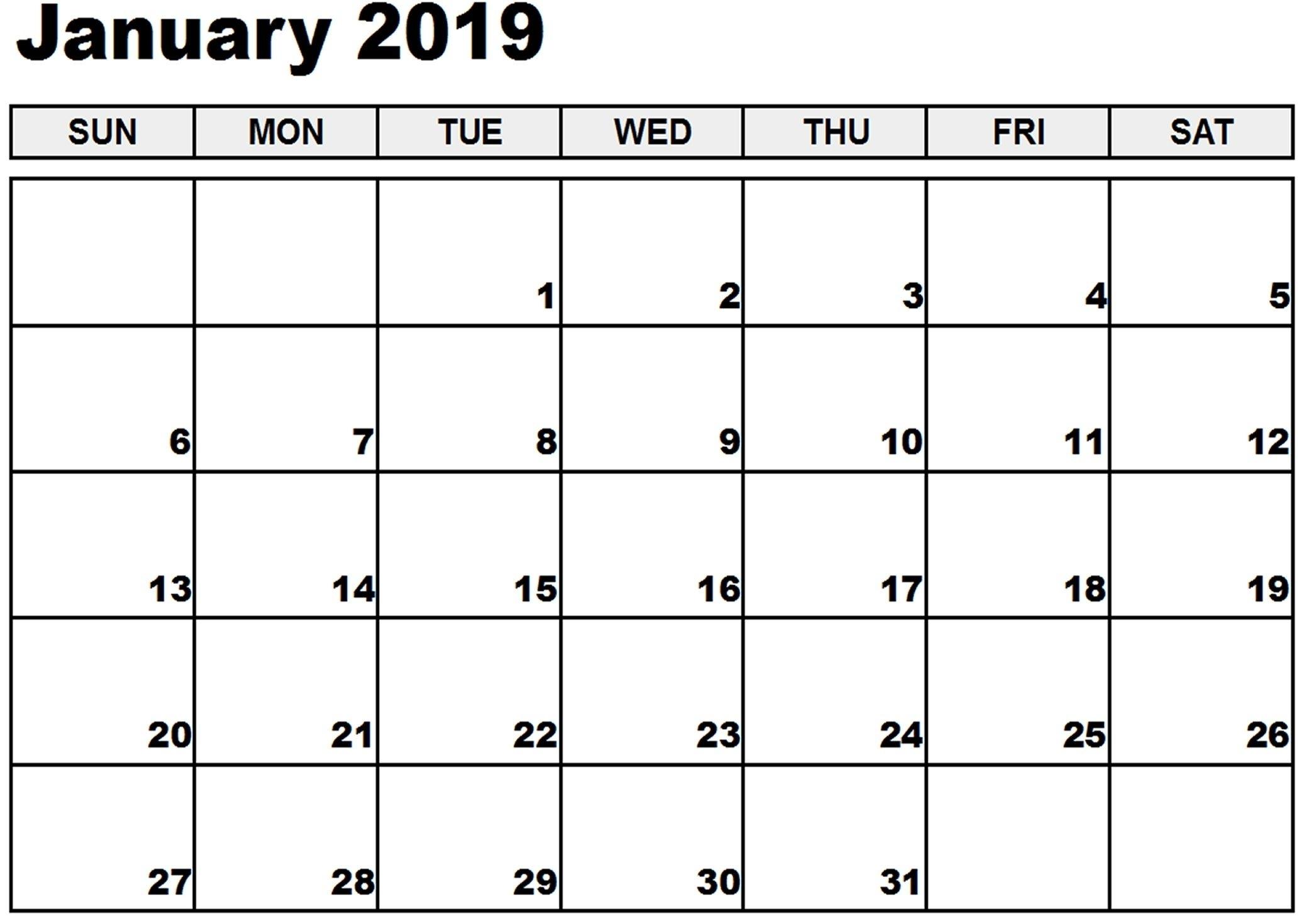 January 2019 Printable Calendar January 2019 Calendar