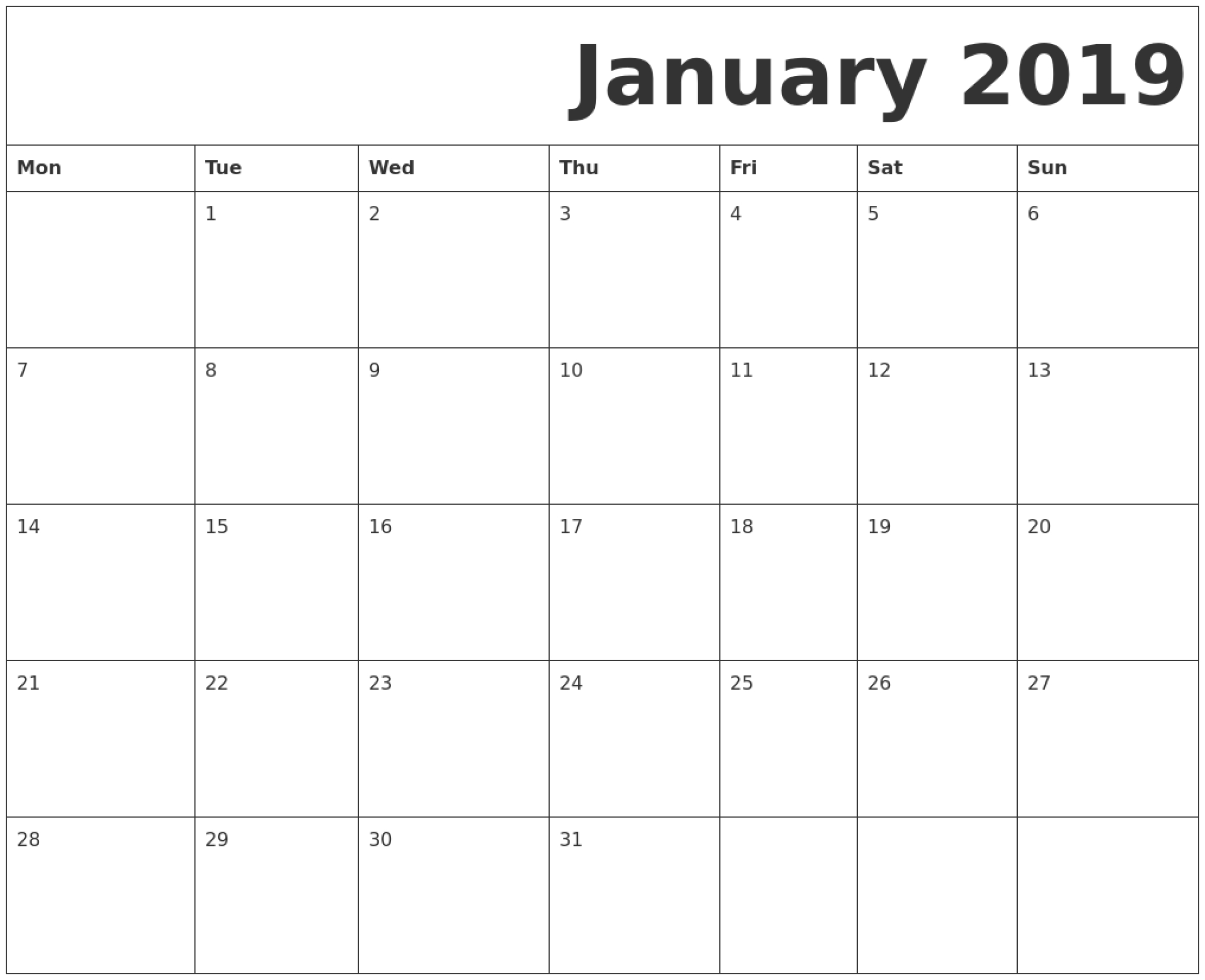 January 2019 Printable Calendar Monday Start. | Printable