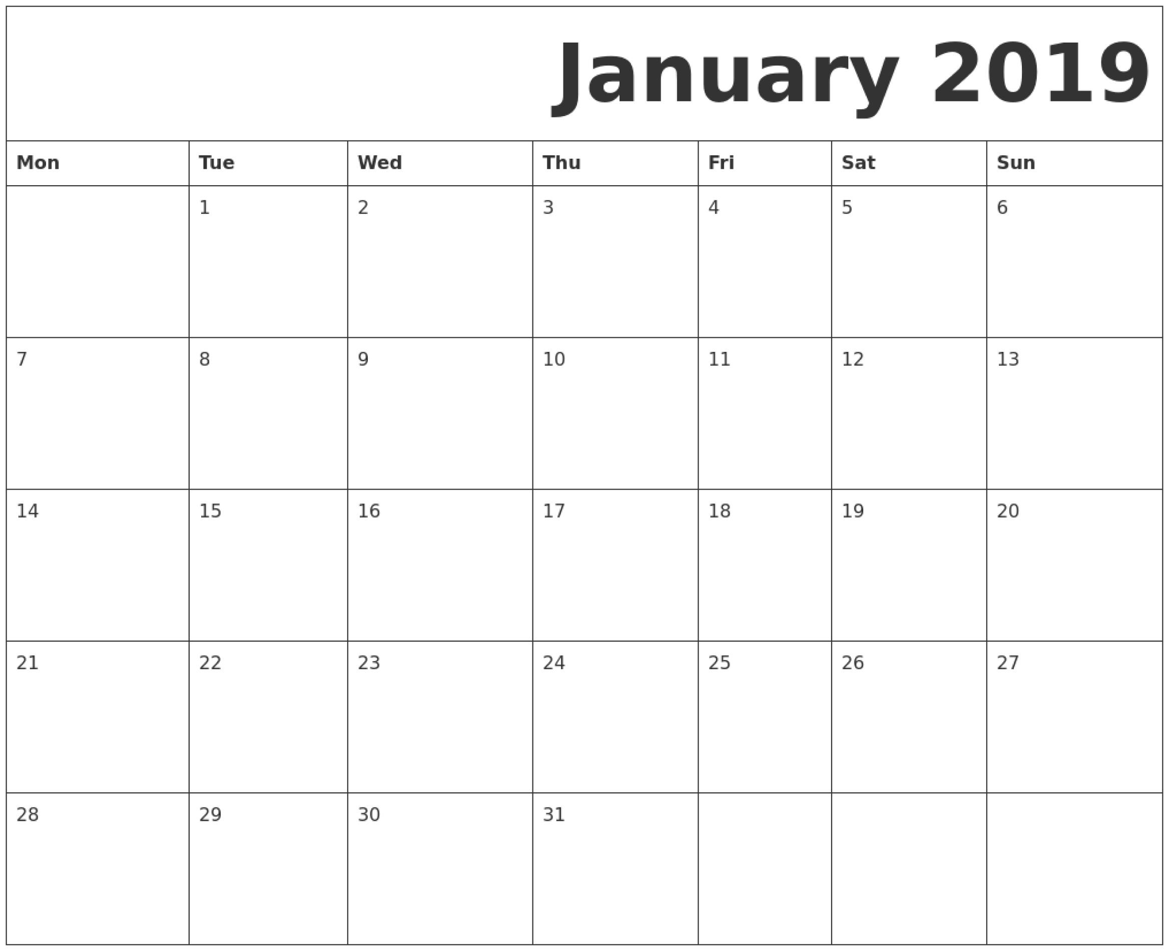 Print Calendar Starting Monday