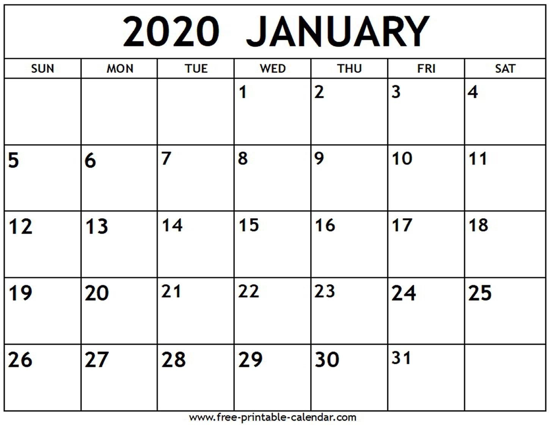 January 2020 Calendar - Free-Printable-Calendar