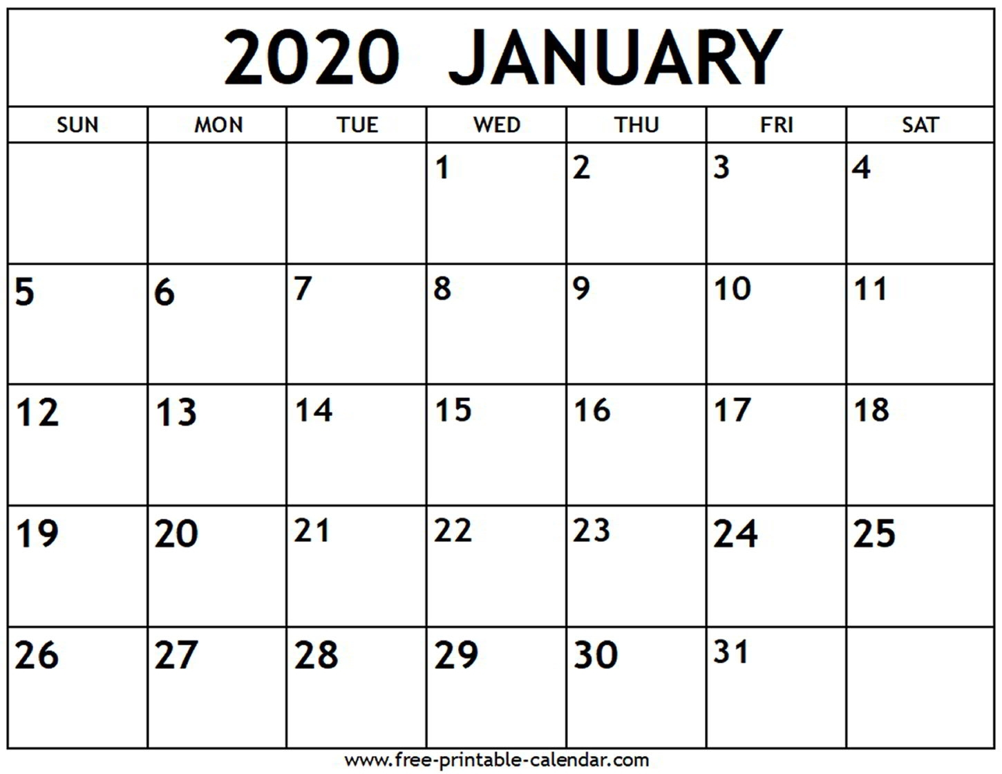 Printable Calendar Of January 2020