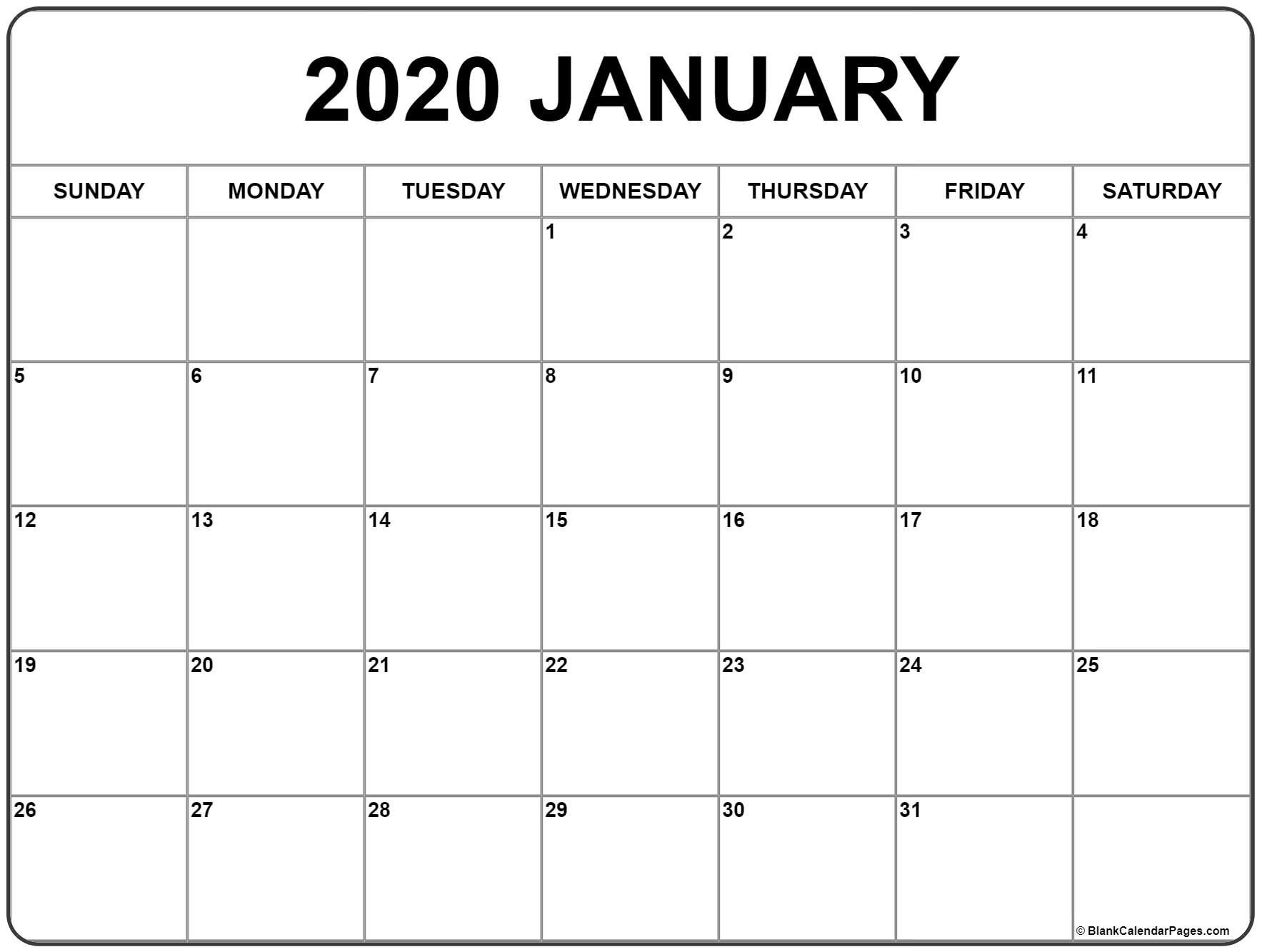 January 2020 Calendar | Free Printable Monthly Calendars