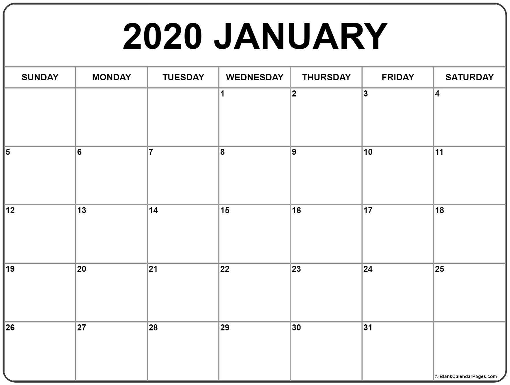 January 2020 Calendar | Free Printable Monthly Calendars