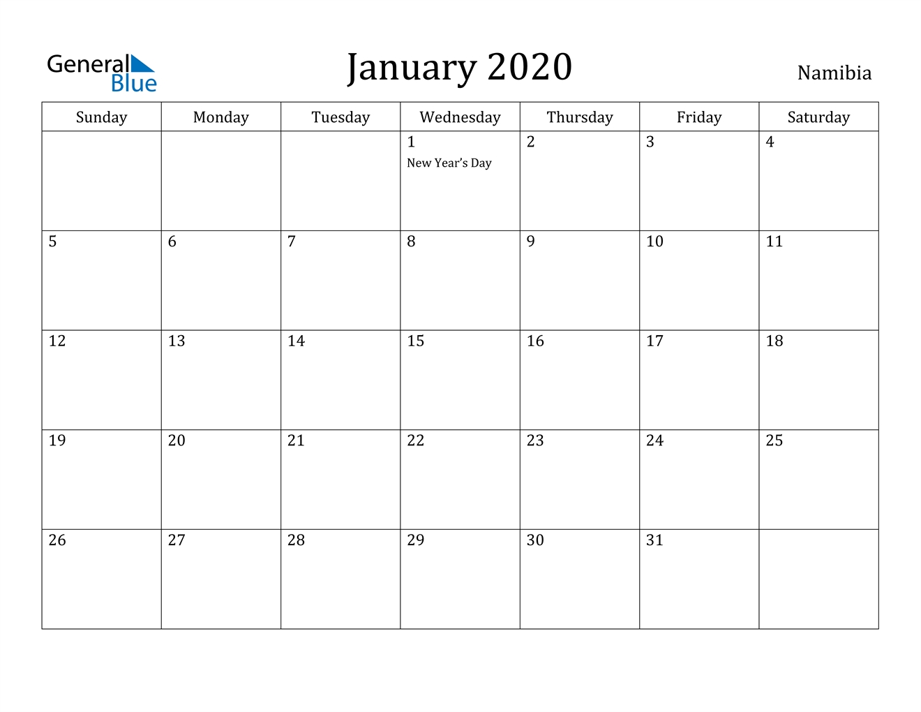 January 2020 Calendar - Namibia