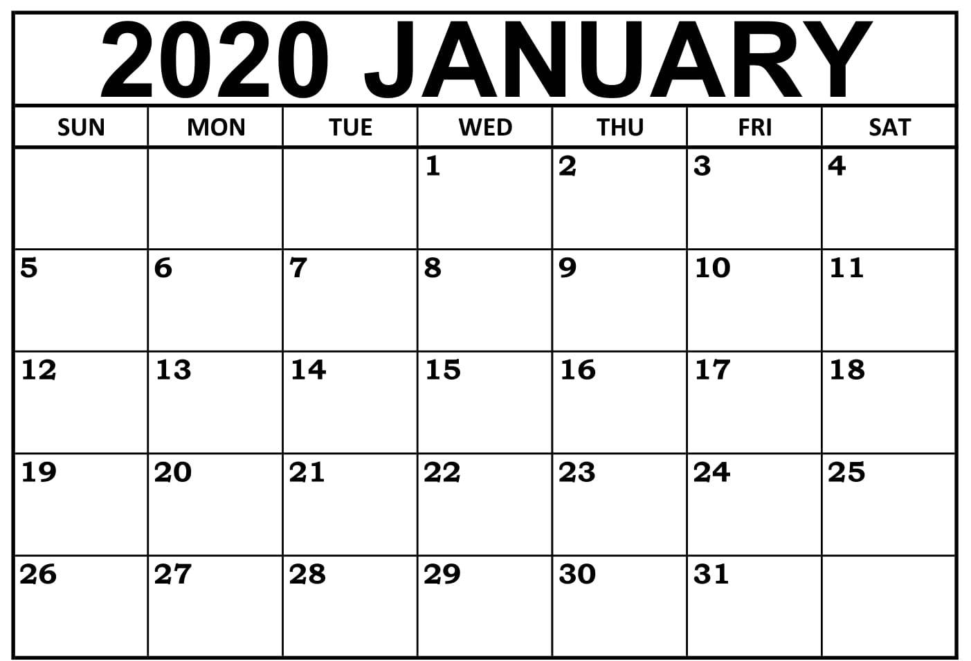 January 2020 Calendar Pdf, Word, Excel Printable Templates