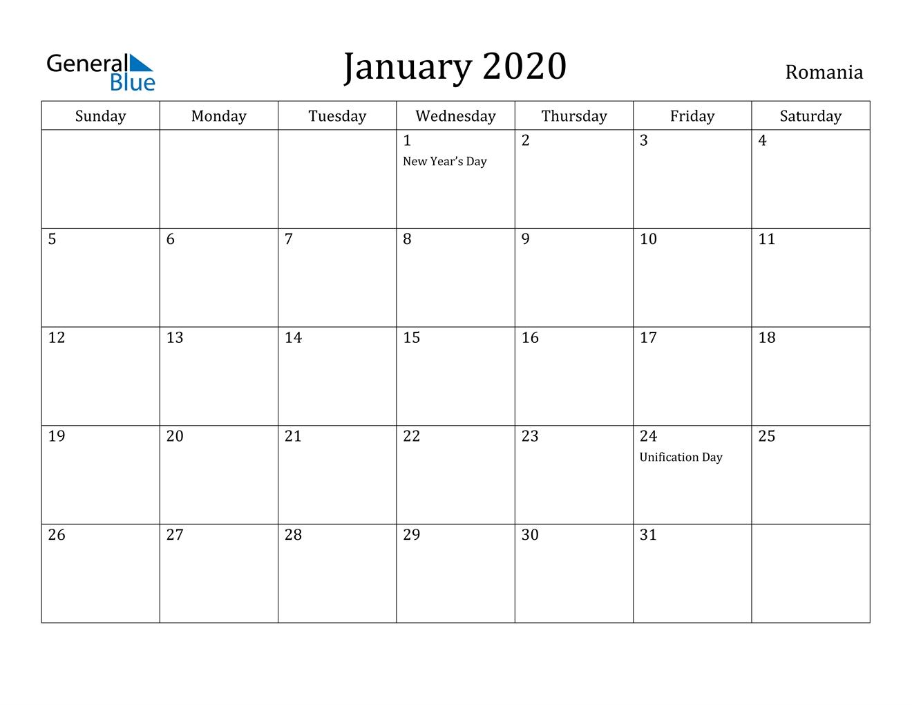 January 2020 Calendar - Romania