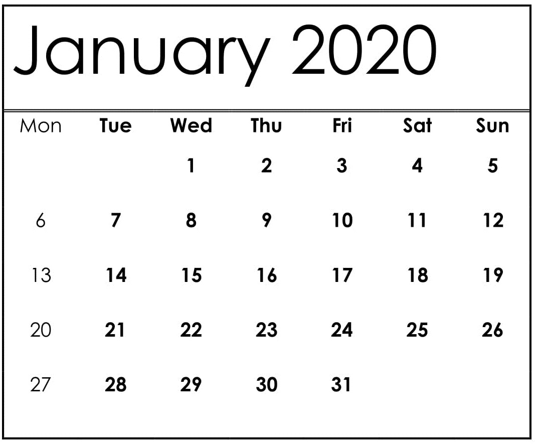 January 2020 Calendar Template On Excel – Free Latest