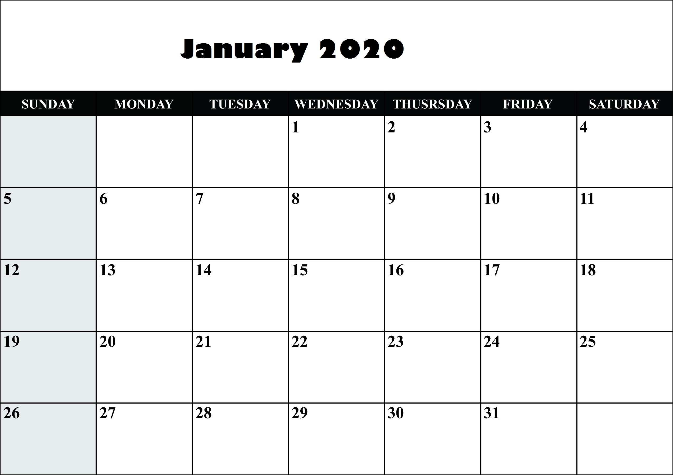 January 2020 Calendar Uk Federal Holidays List | Printable