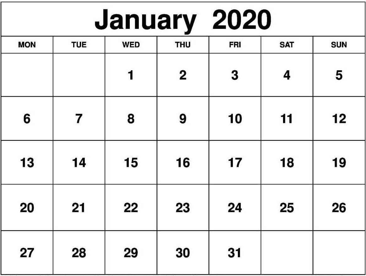January 2020 Calendar Us Printable With Holidays - Set Your