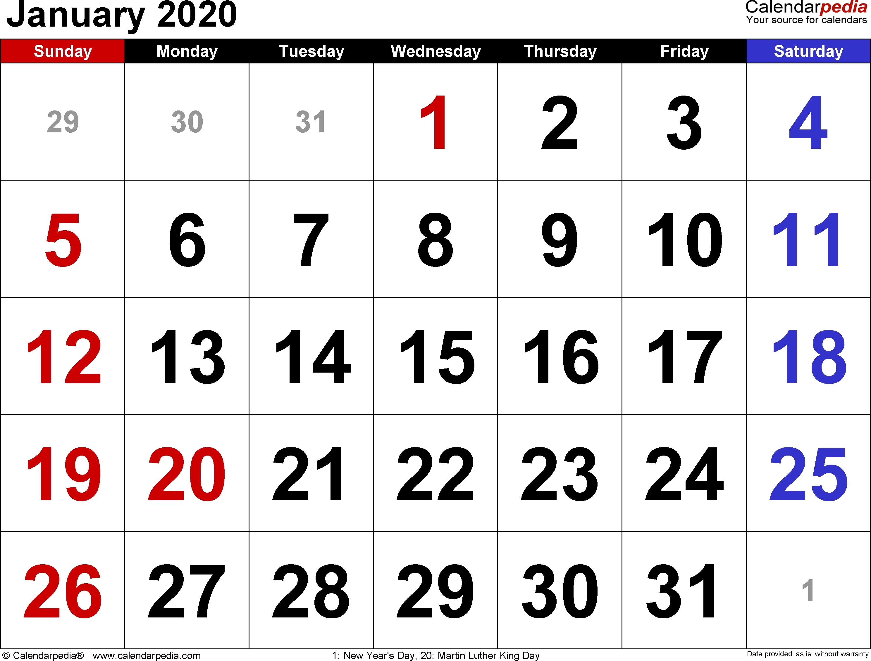 January 2020 Calendars For Word, Excel & Pdf
