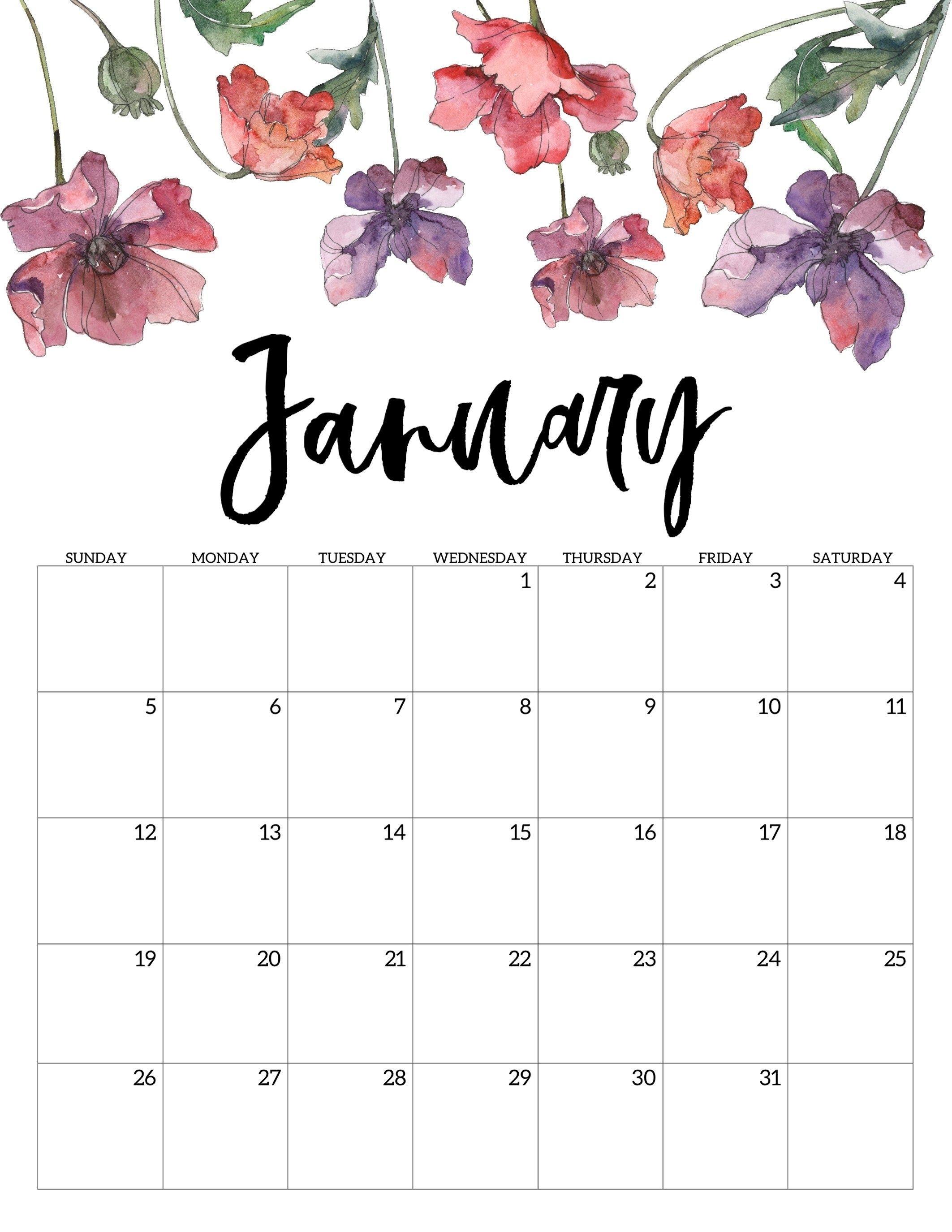 January 2020 Floral Calendar | Print Calendar, Free