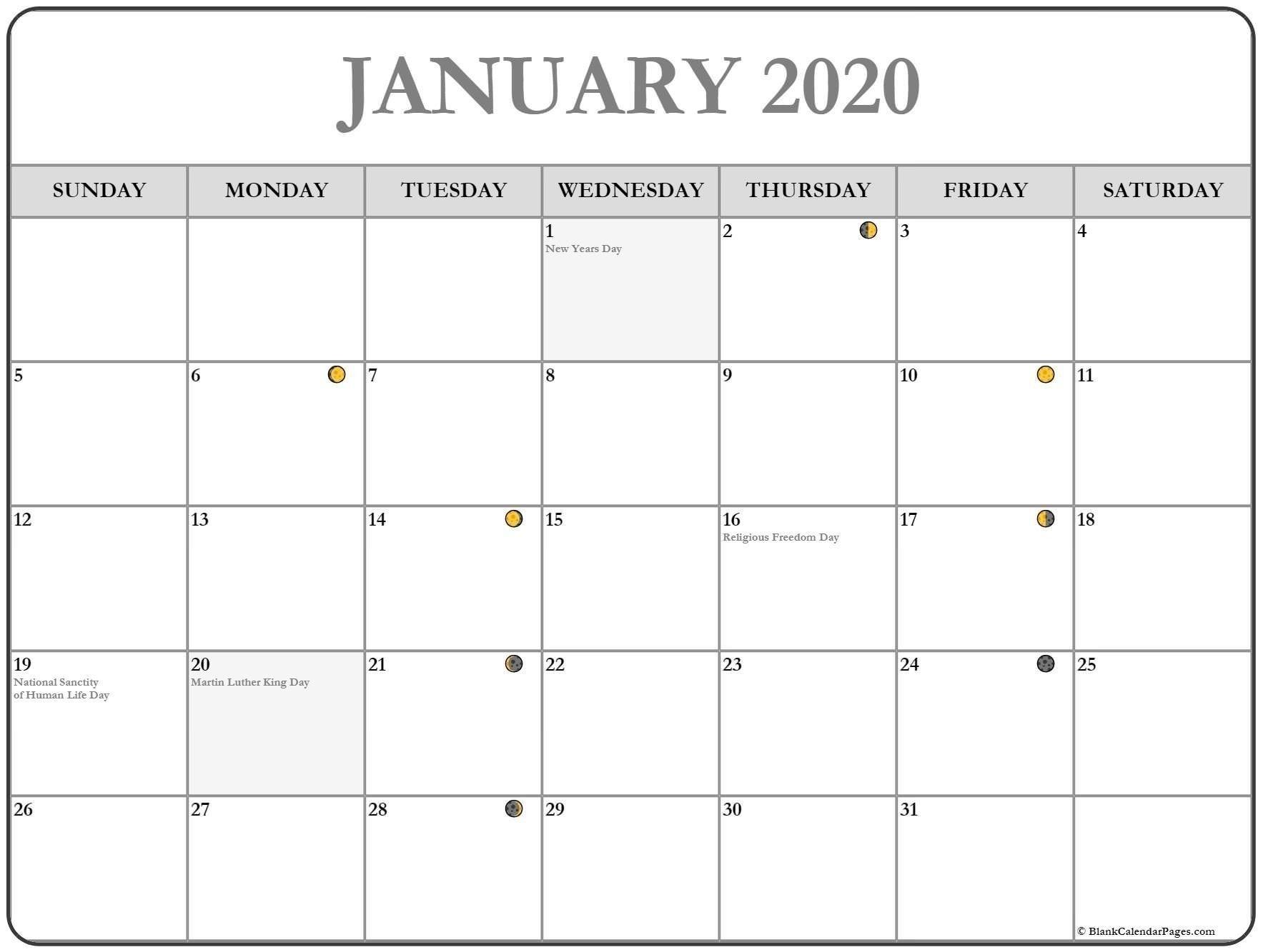 January 2020 Lunar Calendar | Monthly Calendar Template