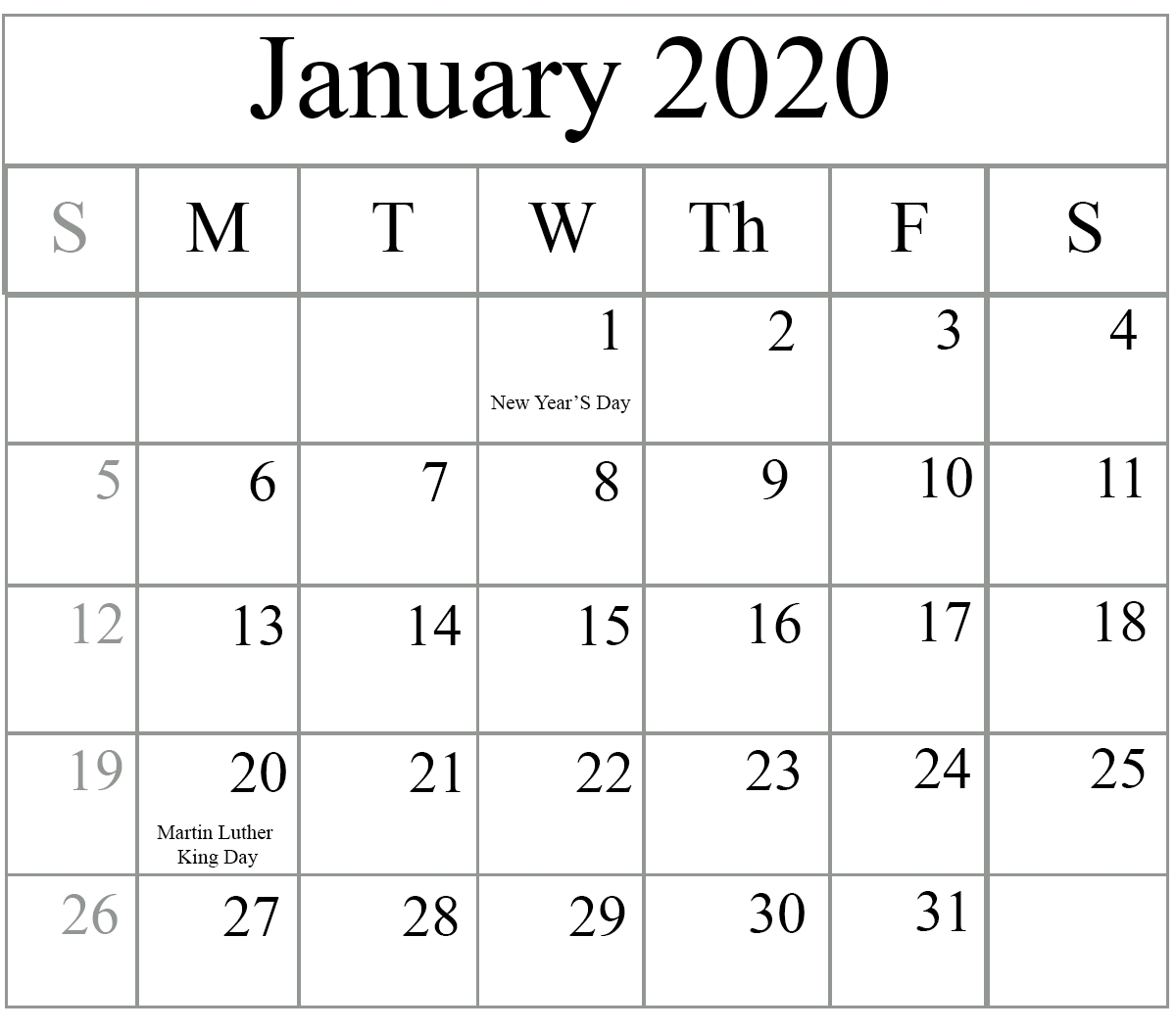 January 2020 Monthly Calendar Date And Time | Calendar