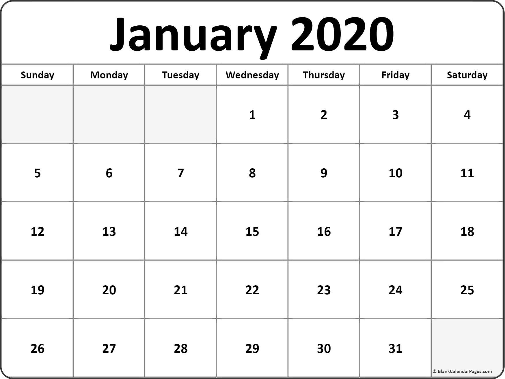 January 2020 Monthly Calendar Print #january #january2020