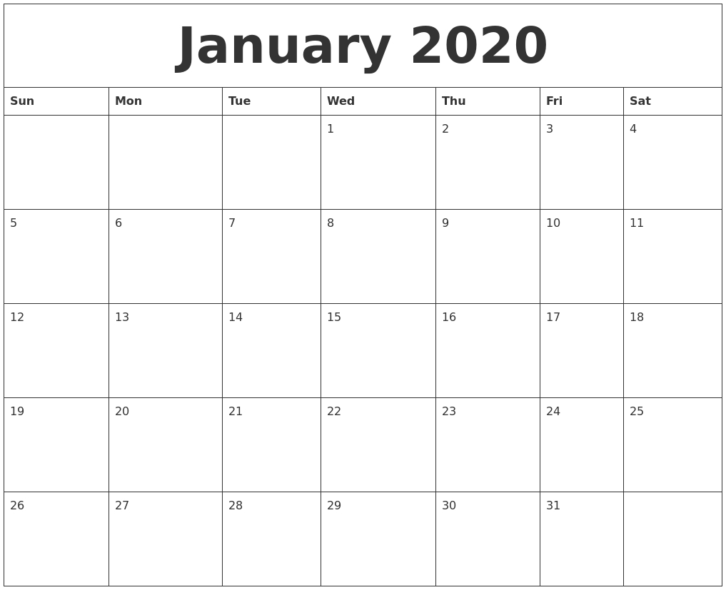January 2020 Monthly Calendar To Print