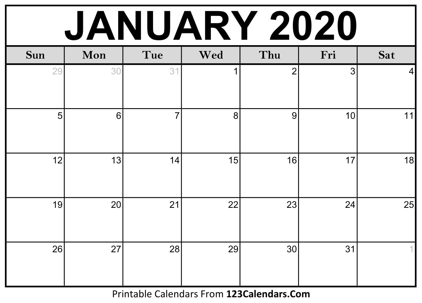 January 2020 Printable Calendar   123Calendars