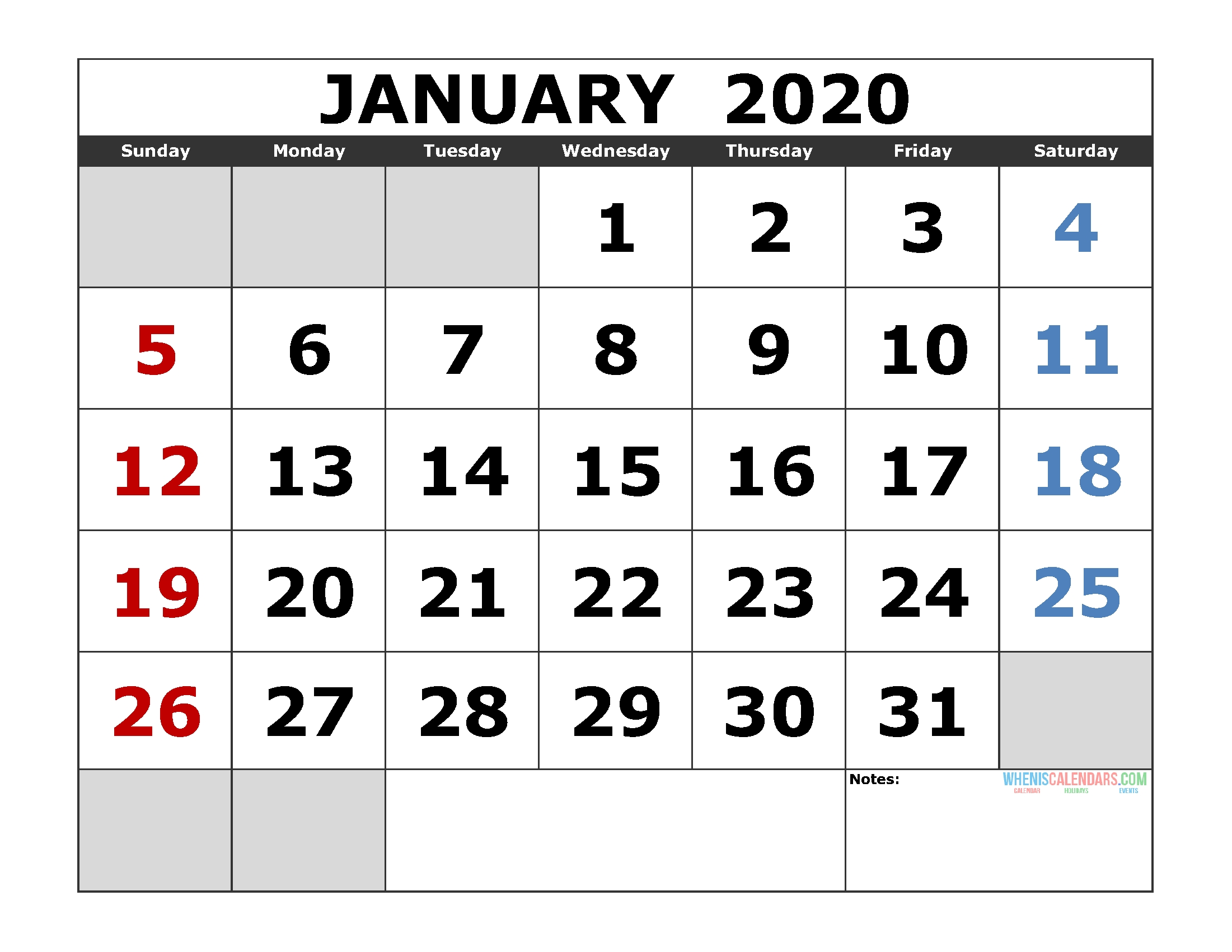 January 2020 Printable Calendar Template Excel, Pdf, Image