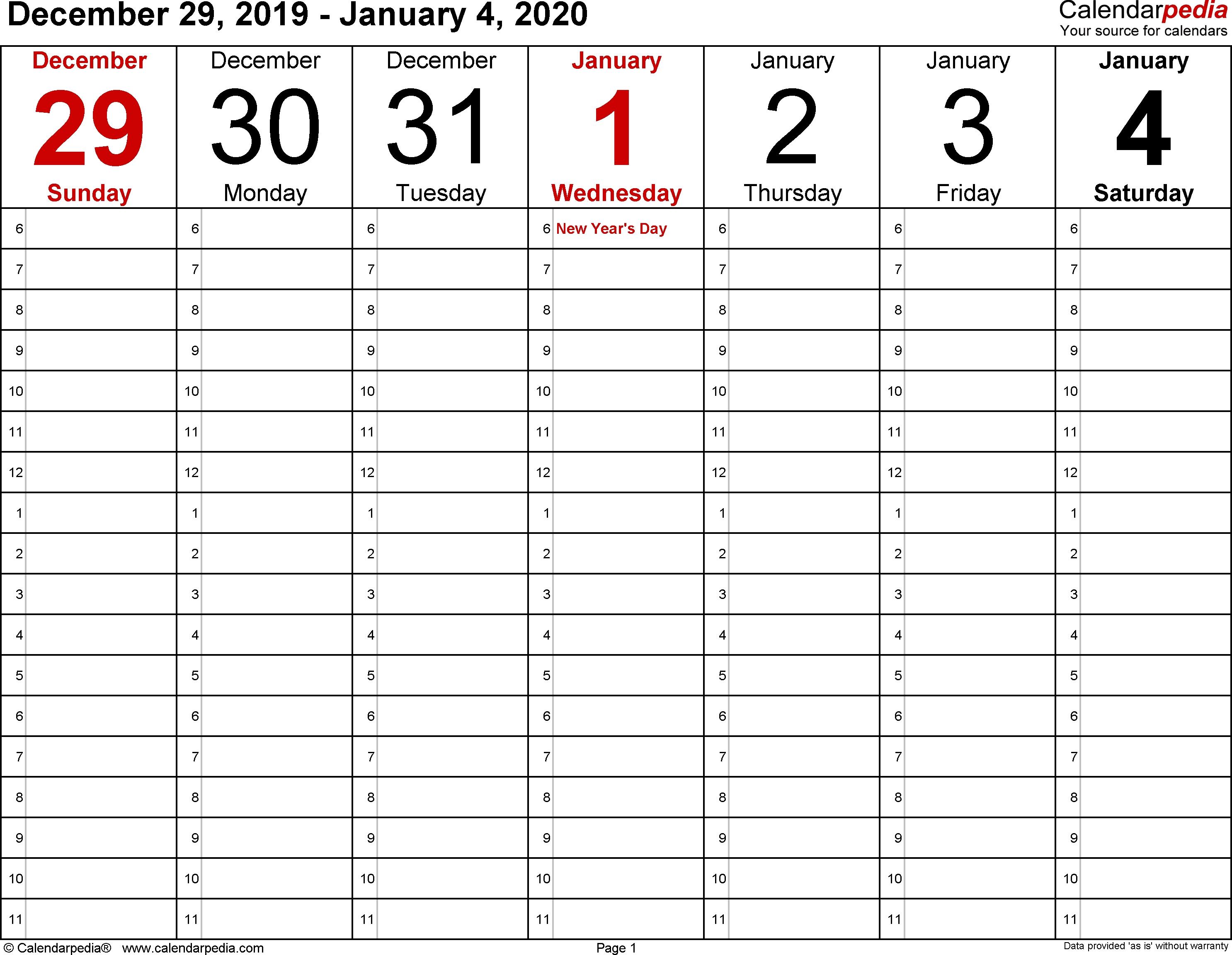 January 2020 Weekly Calendar | Monthly Calendar Template
