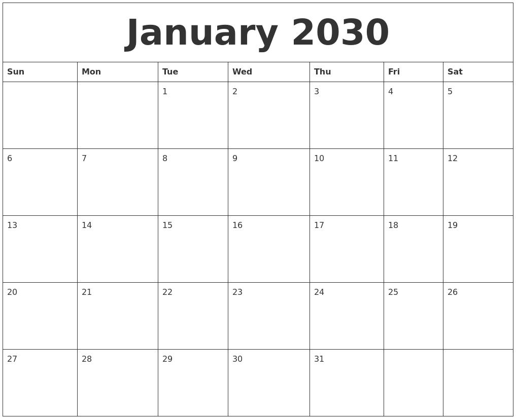 January 2030 Make A Calendar Free