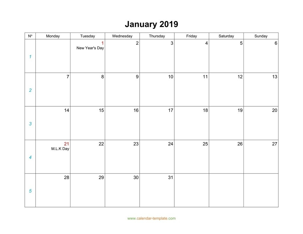 January Calendar 2019 Blank Template