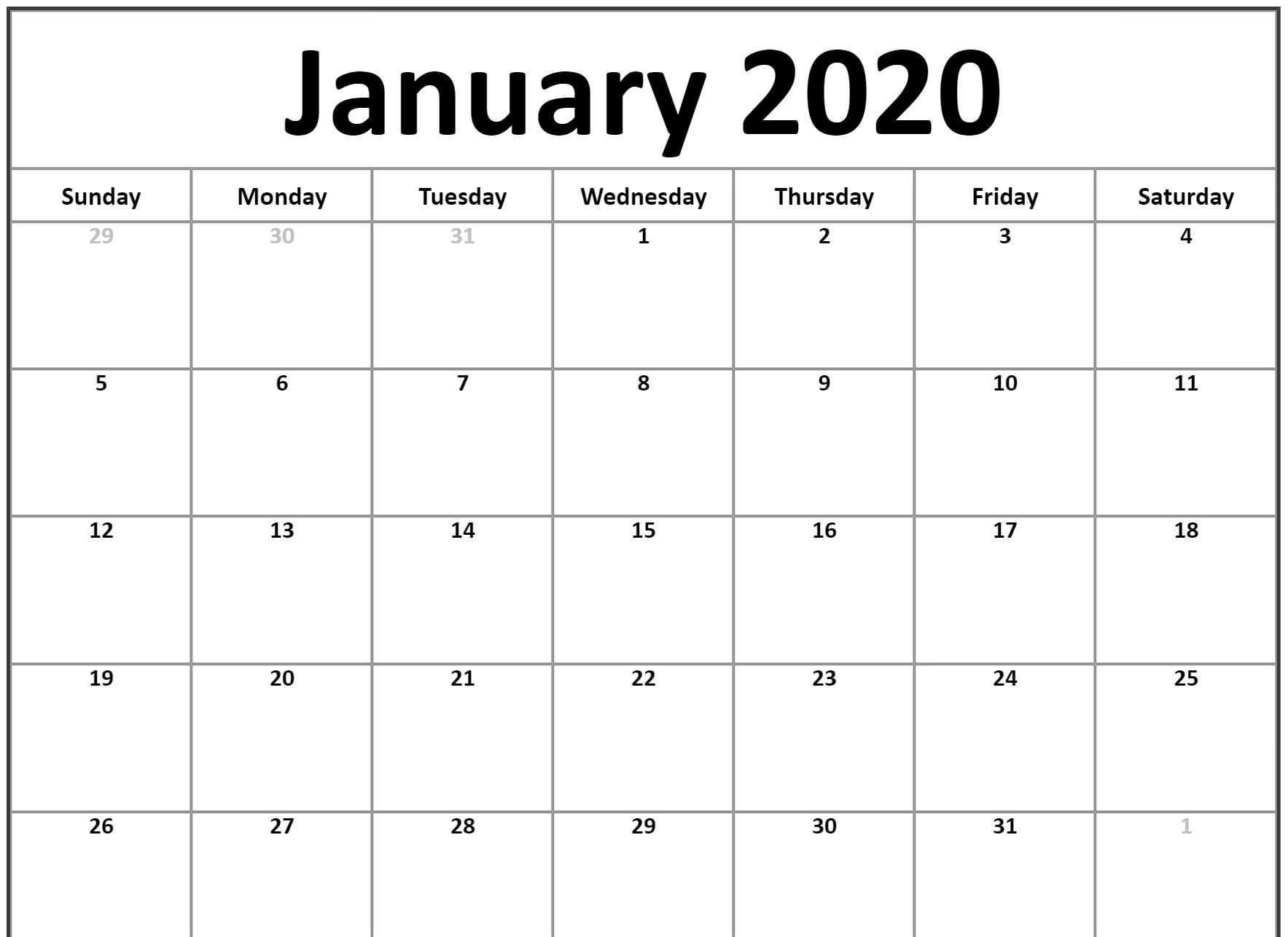 January Calendar 2020 Landscape - Free August 2019 Calendar