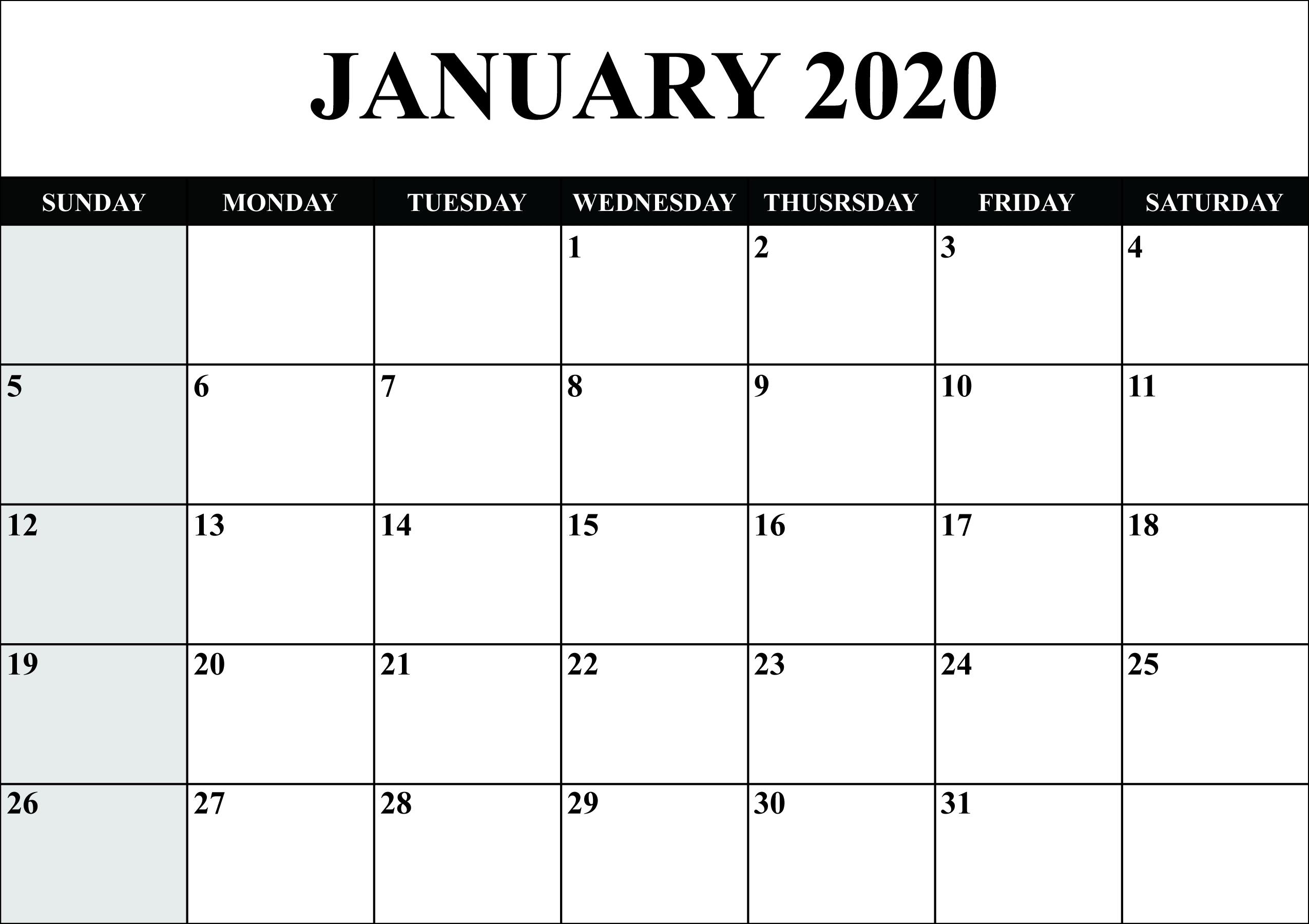 January Calendar 2020 Word - Free August 2019 Calendar