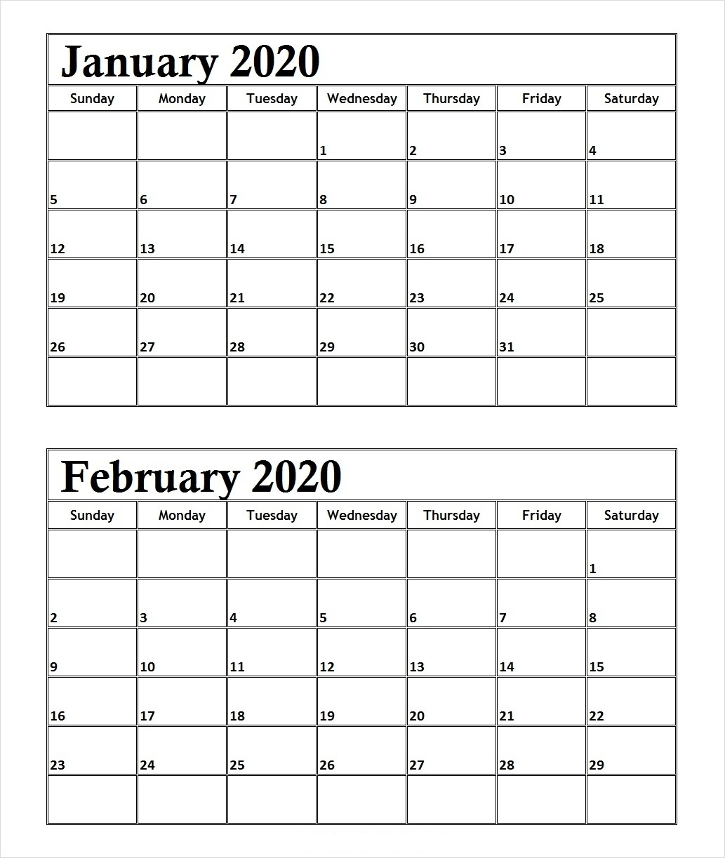 January February 2020 Calendar Daily Calendar Printable | 12
