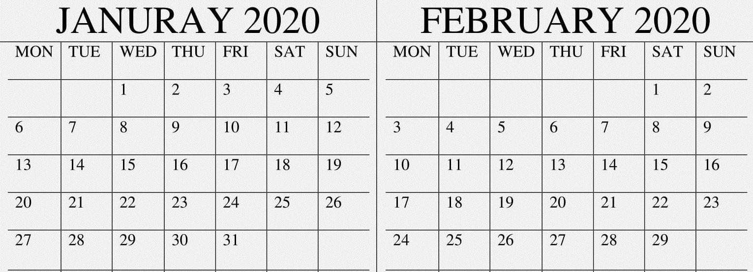 January February 2020 Calendar Excel,pdf Template – Free