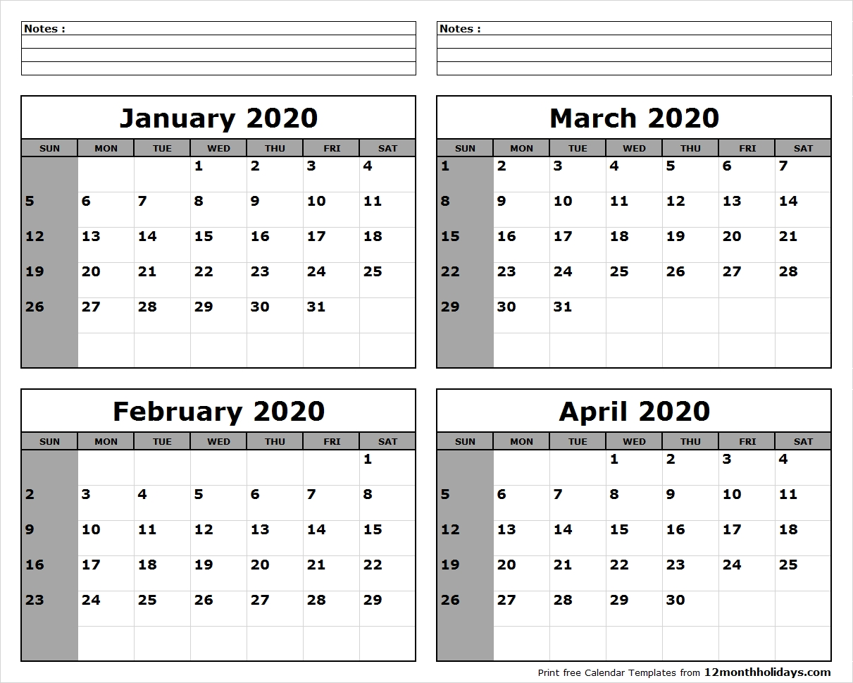 January-February-March-April-2020-Calendar-To-Print - All 12