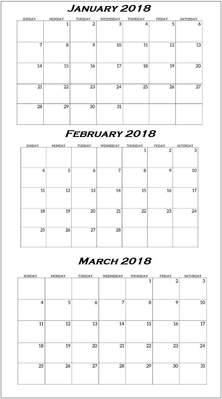January To March 2018 Quarterly Calendar | Quarterly