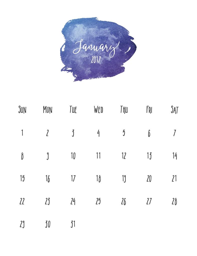 Jaunary 2017 Free Pretty Printable Calendar | Marinobambinos