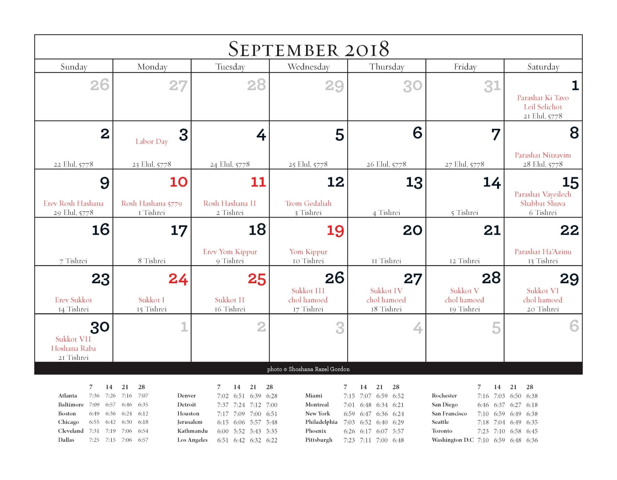 Jewish Cat Calendar 5779