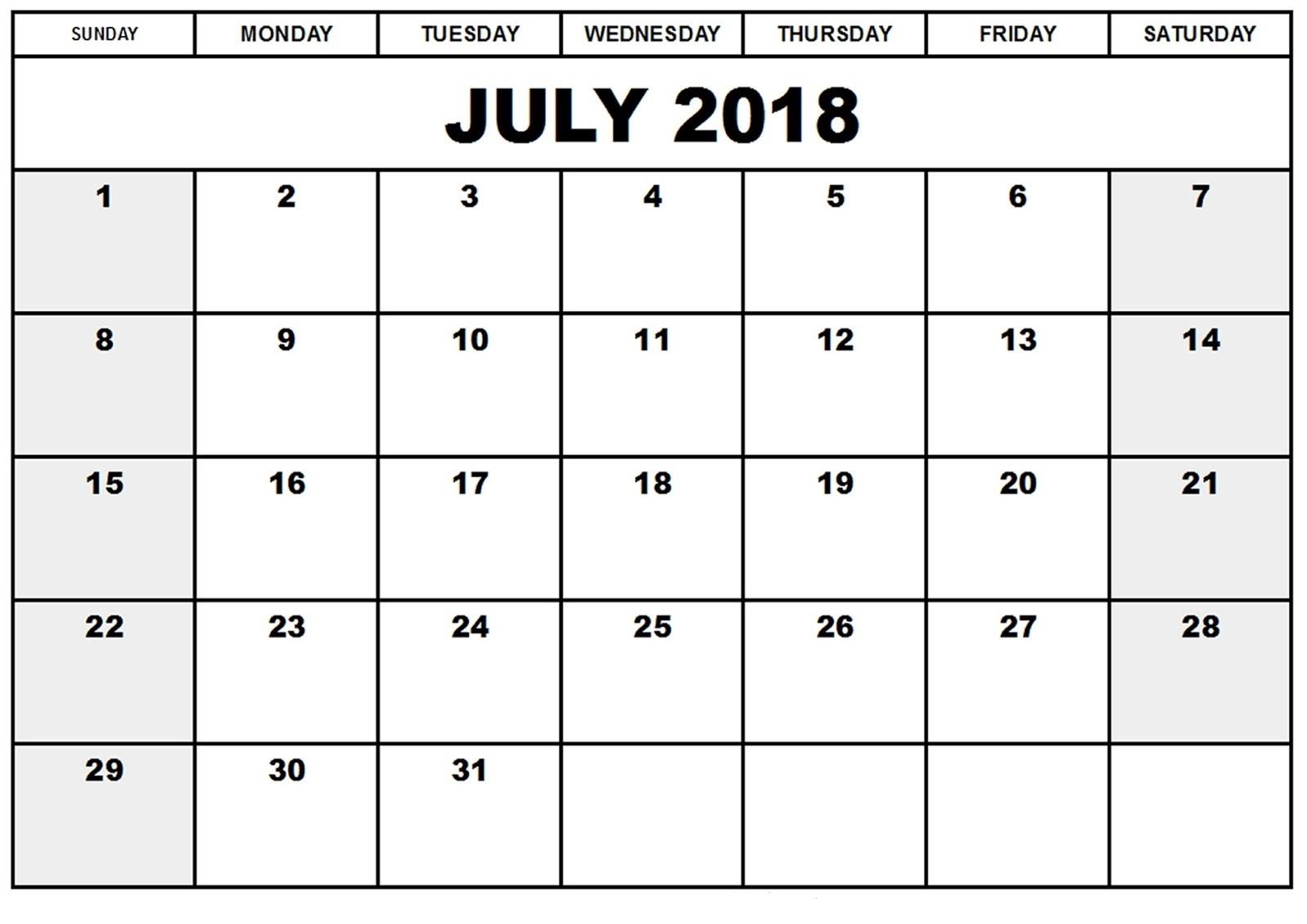 July 2018 Calendar Portrait