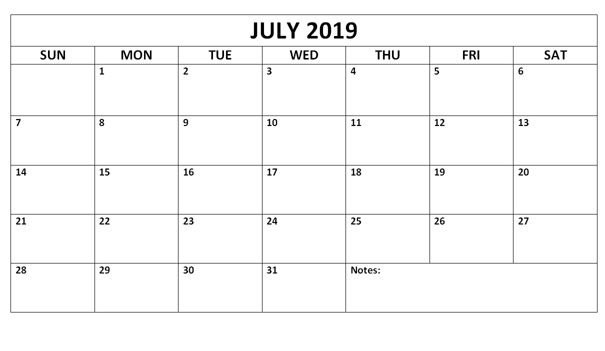 July 2019 Blank Calendar Waterproof | Printable Calendar
