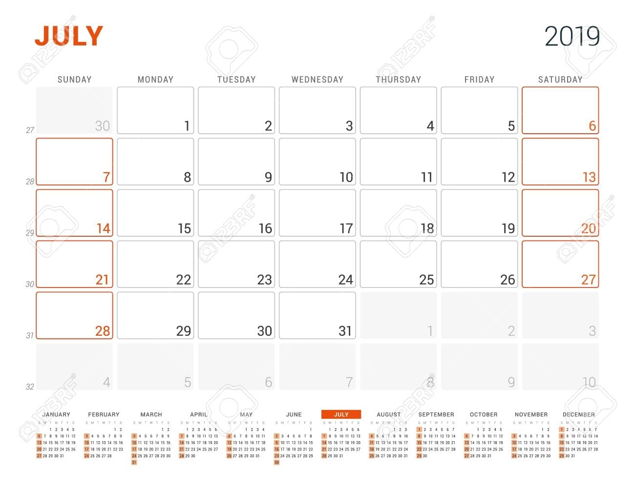 July 2019. Calendar Planner For 2019 Year. Vector Design Print..