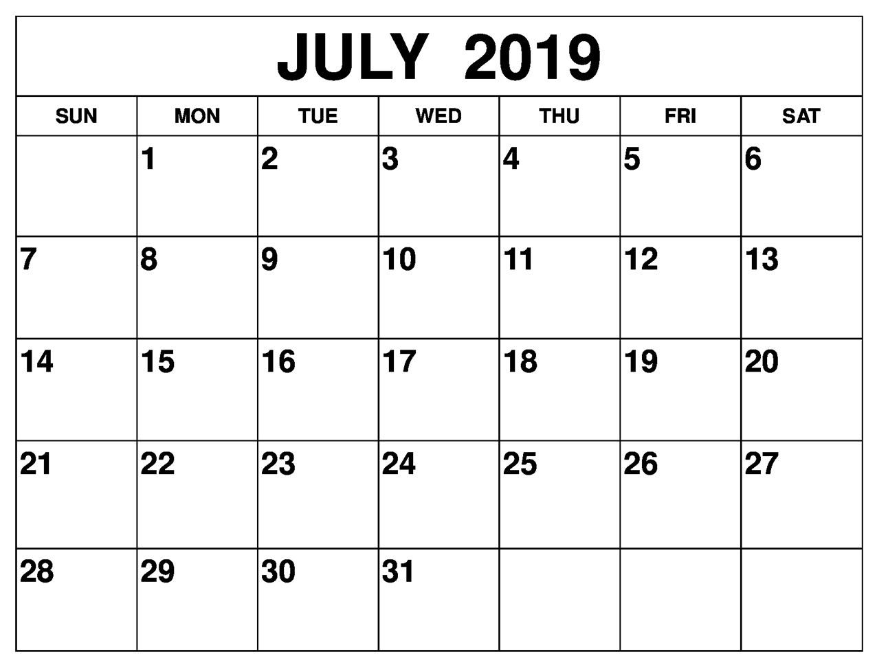 July 2019 Calendar Printable For Landscape And Vertical