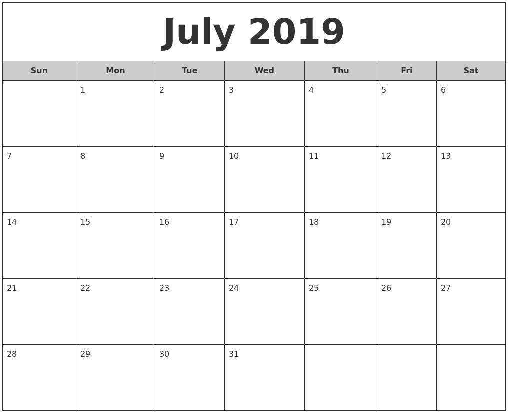 July 2019 Free Monthly Calendar