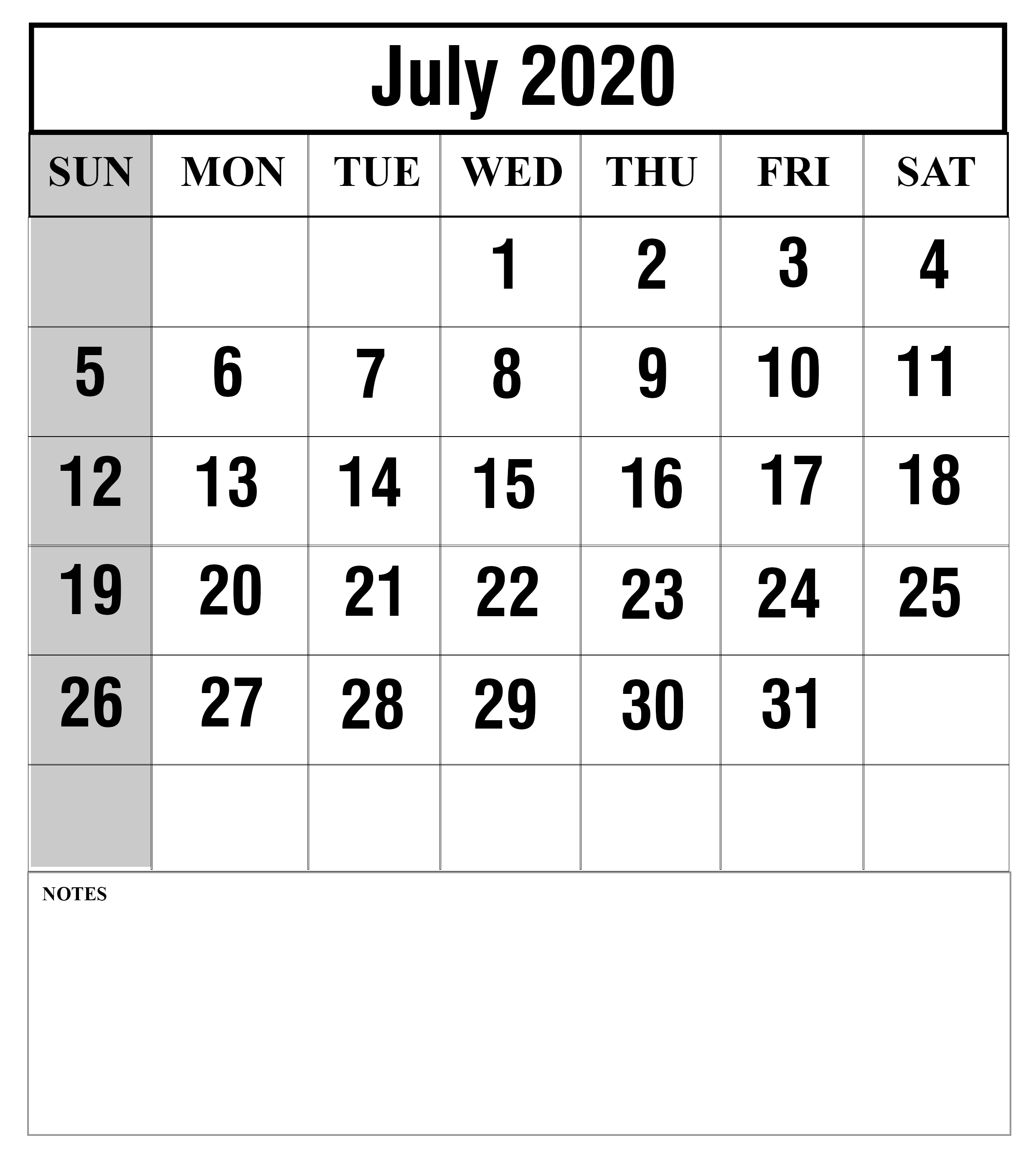 July-2020-2 | Printable Template Calendar
