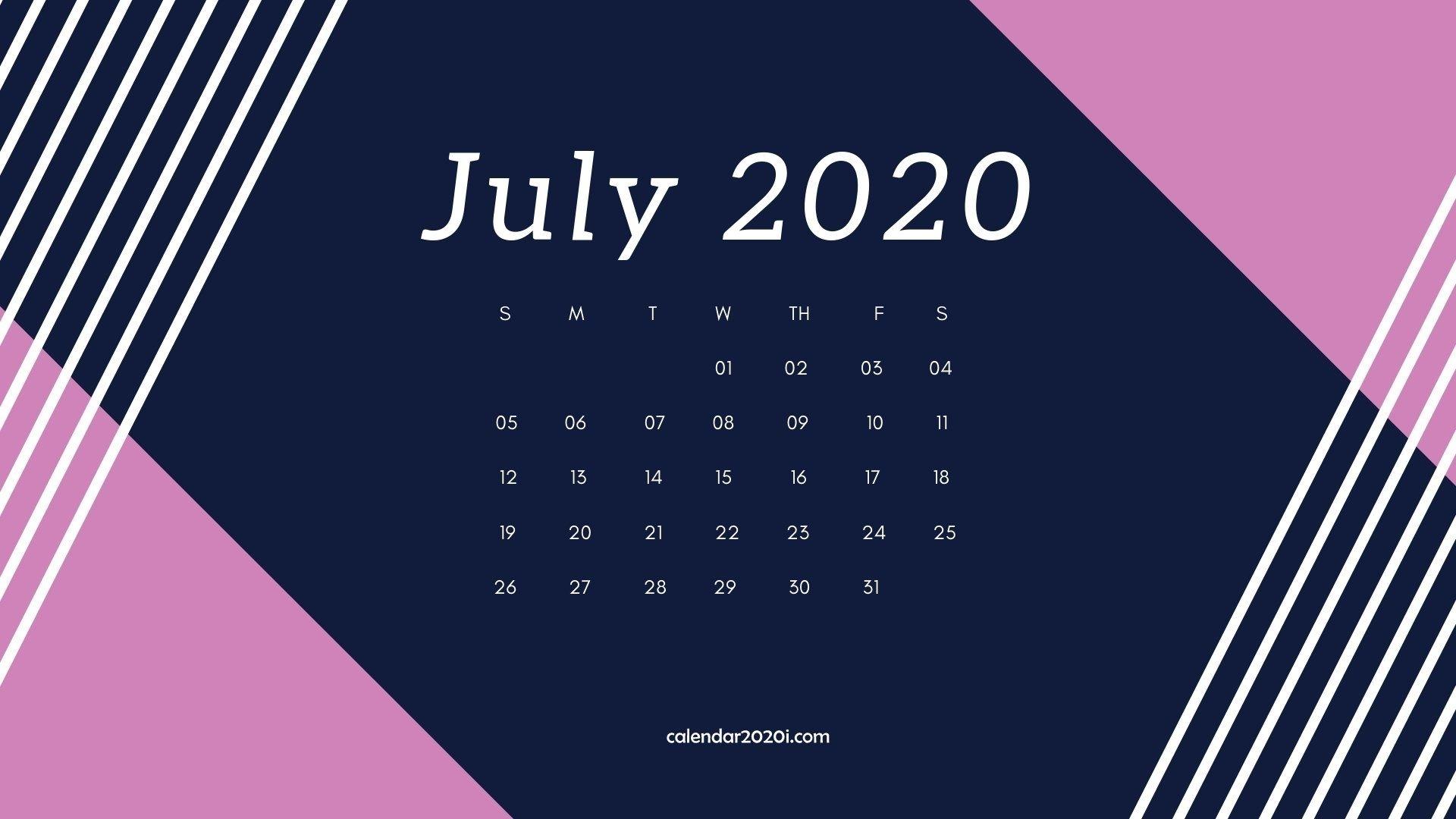 July 2020 Calendar Desktop Wallpaper In 2019 | Calendar