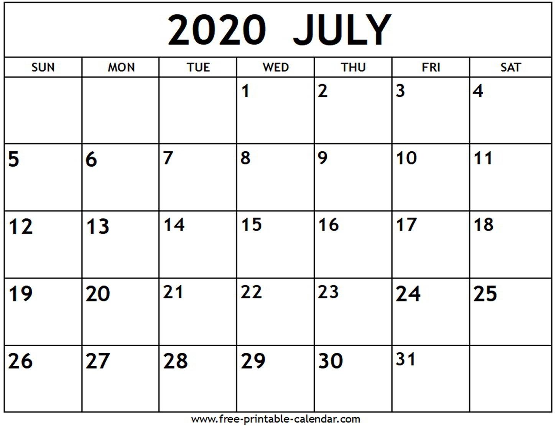 July 2020 Calendar - Free-Printable-Calendar