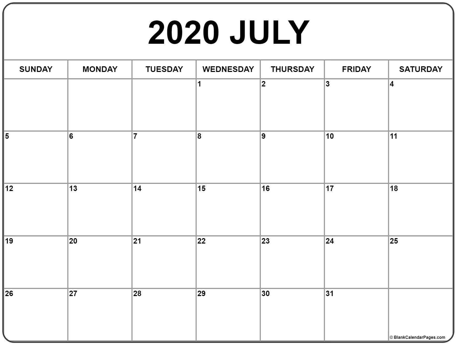 July 2020 Calendar | Free Printable Monthly Calendars