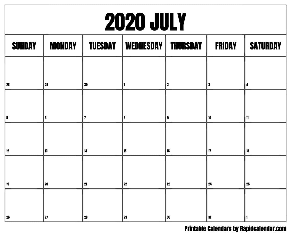 July 2020 Calendar Printable - Rapid Calendar