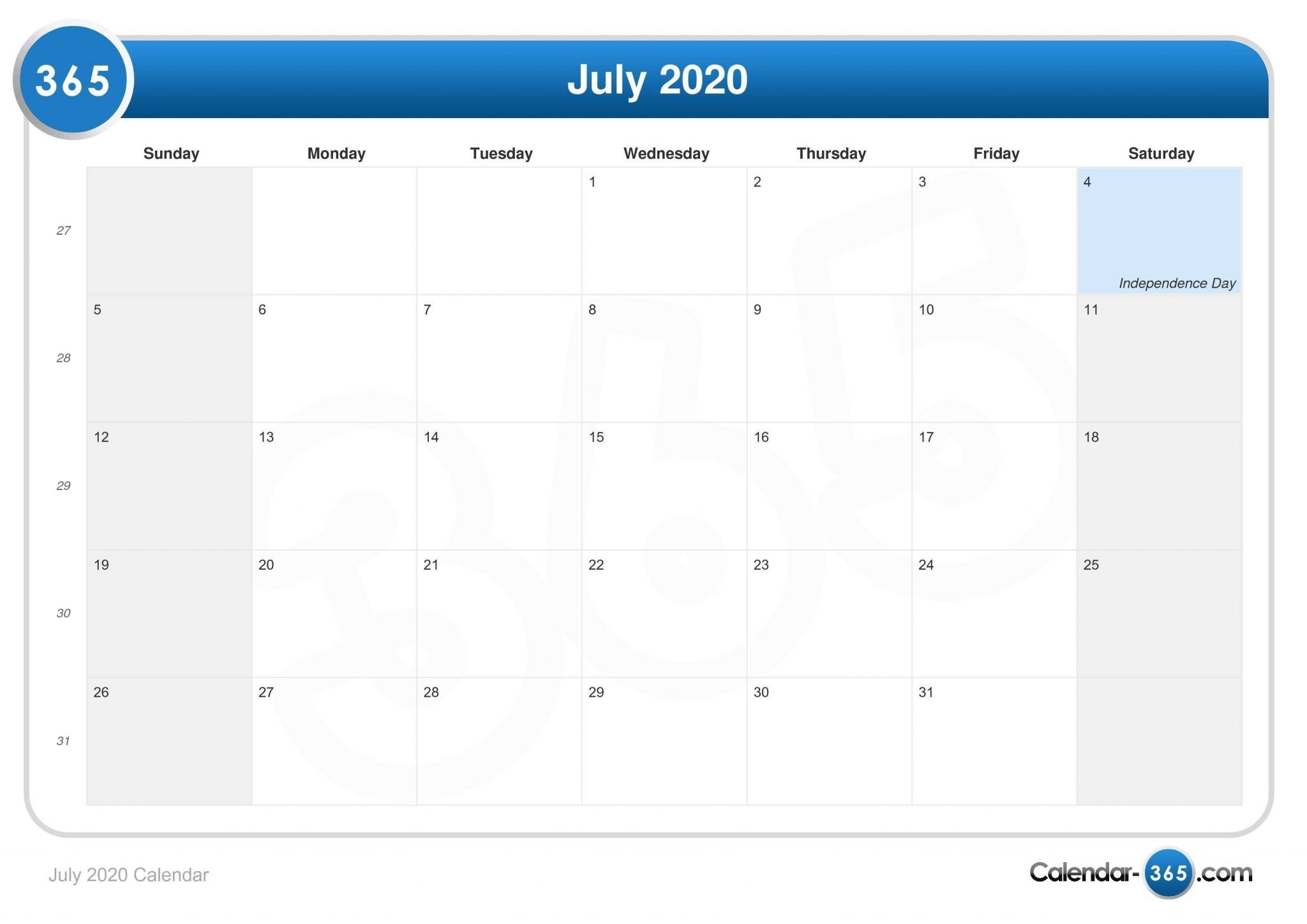 July 2020 Calendar With Holidays In Usa, Uk, Canada, India