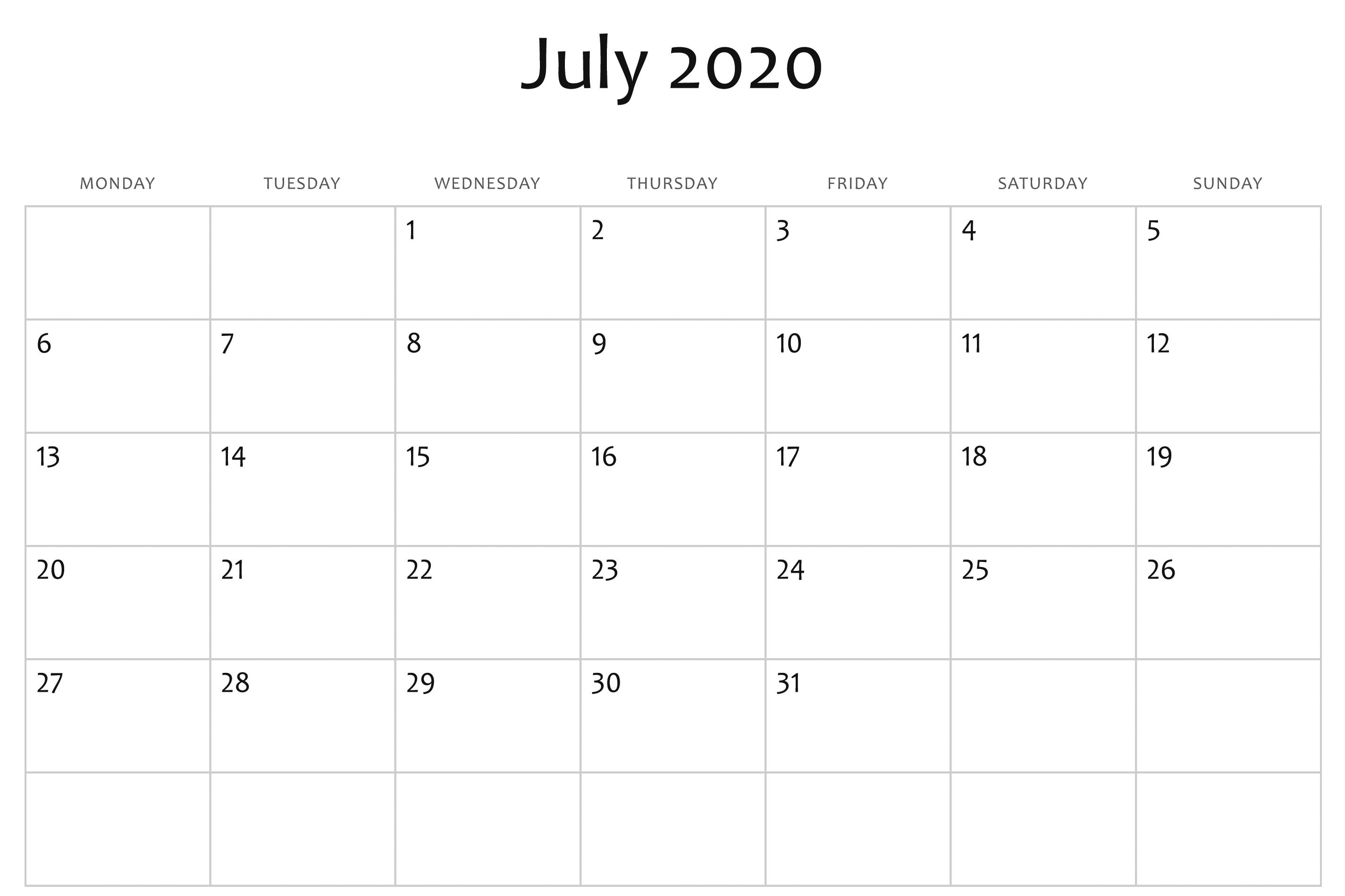 July 2020 Calendar Word | Printable Calendar Template, July