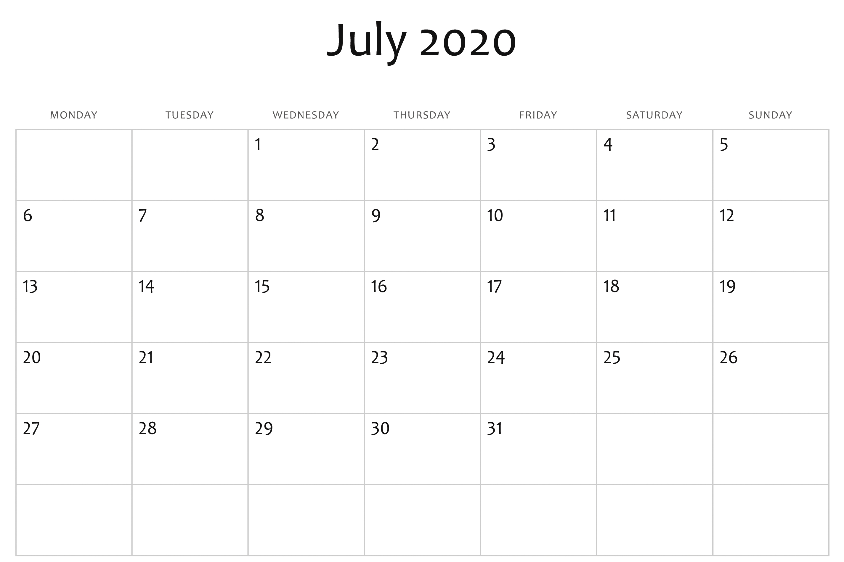 July 2020 Calendar Word | Printable Calendar Template, July