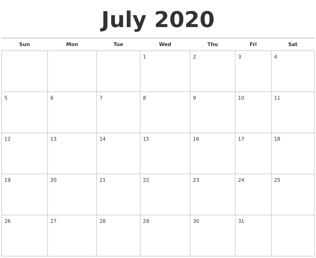July 2020 Calendars Free