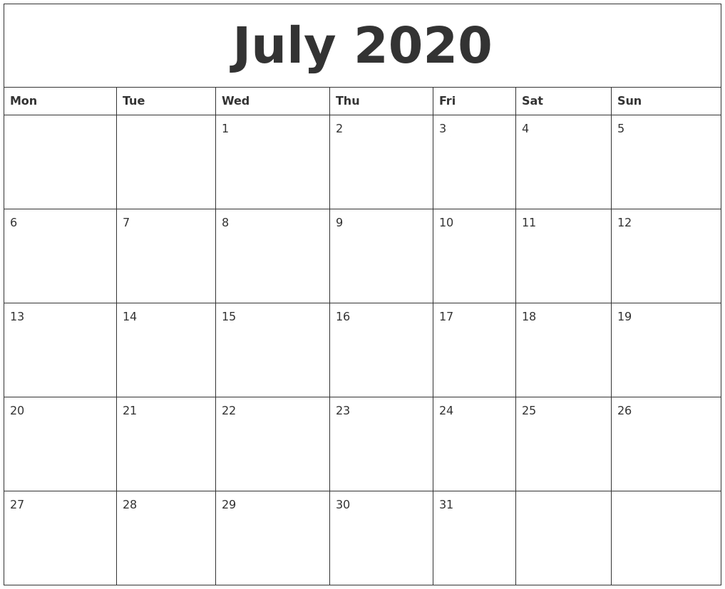 July 2020 Monthly Calendar To Print